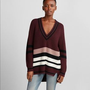 Express deep v neck striped sweater